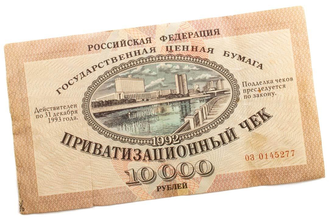 Russian vouchers for privatised stocks