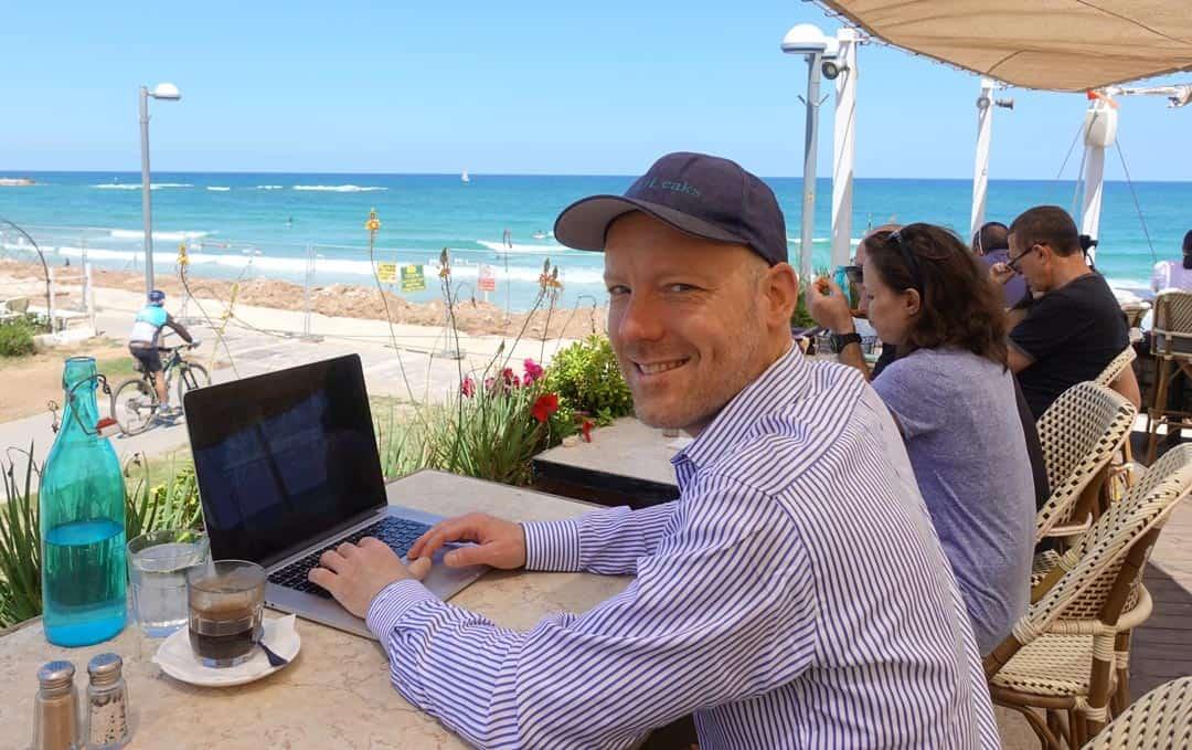 Swen working at beach