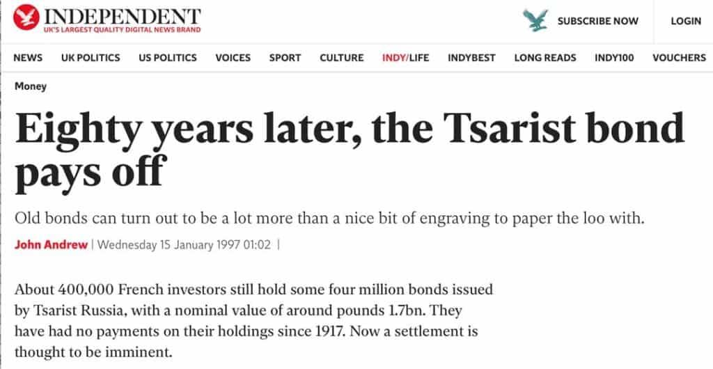Independent Tsarist bonds