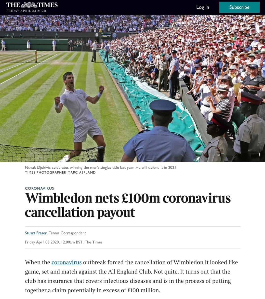 The Times - Wimbledon nets £100m coronavirus cancellation payout