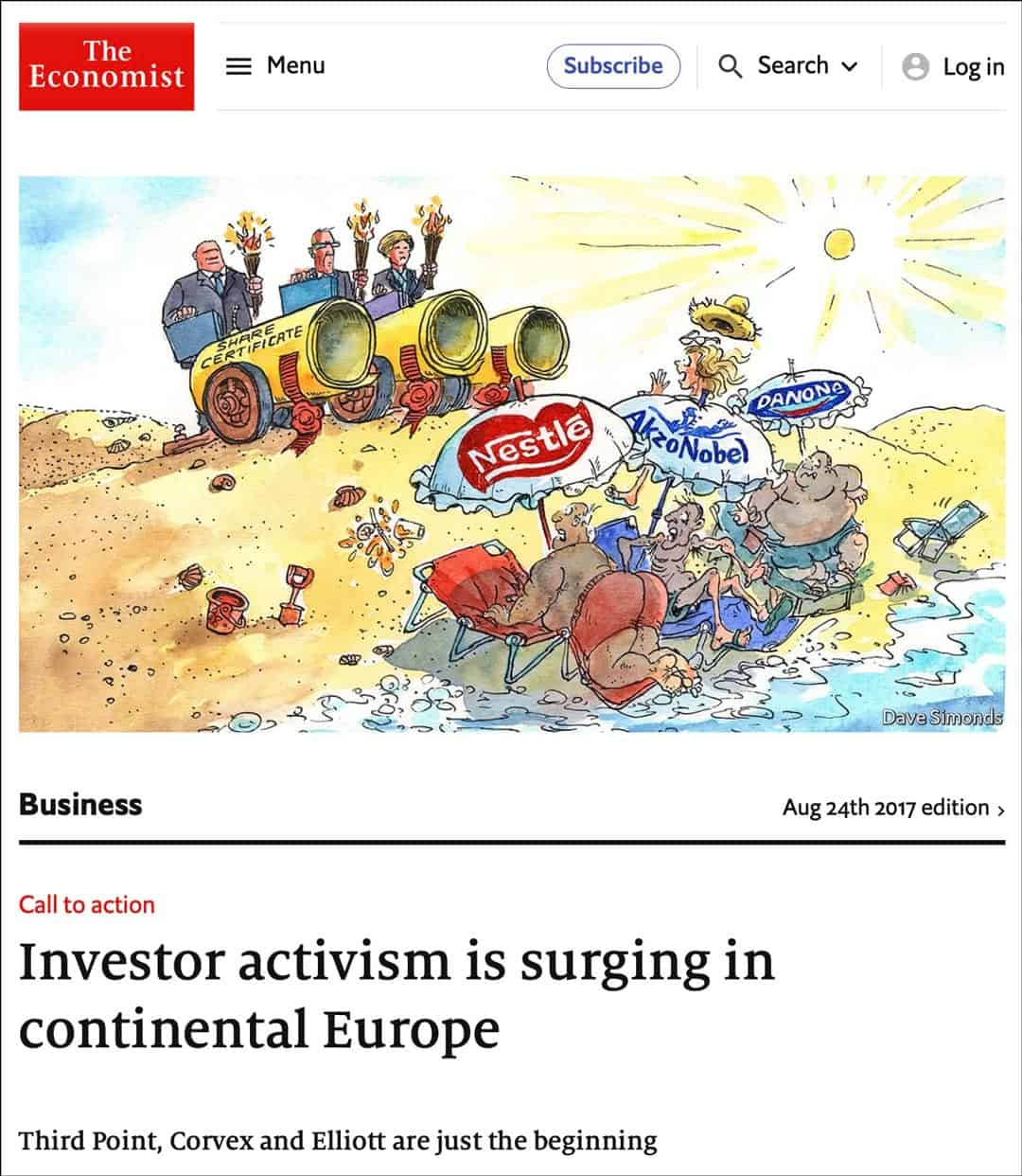 Economist - Investor activism is surging in continental Europe