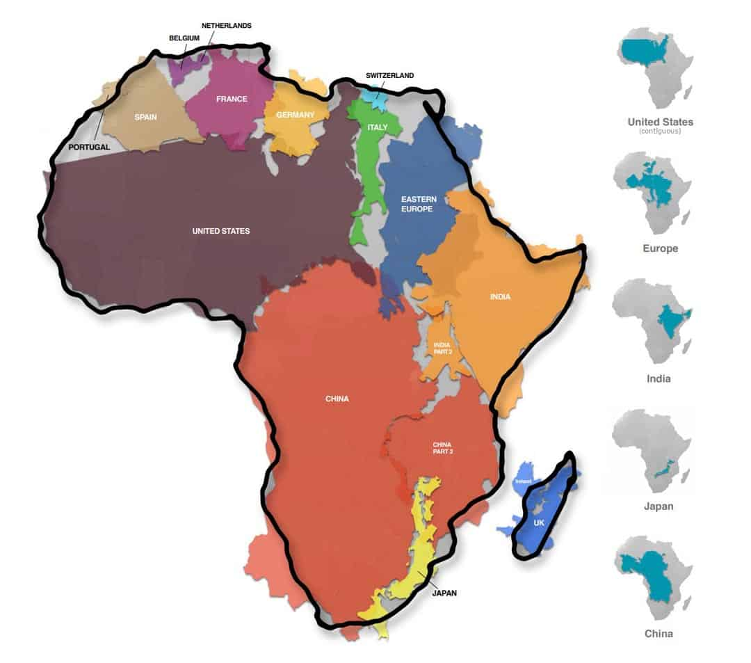 African map in comparison with other regions