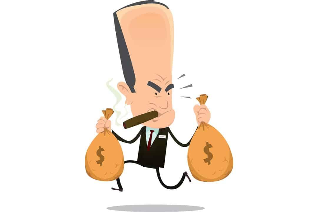 Bad banker crook running away with money