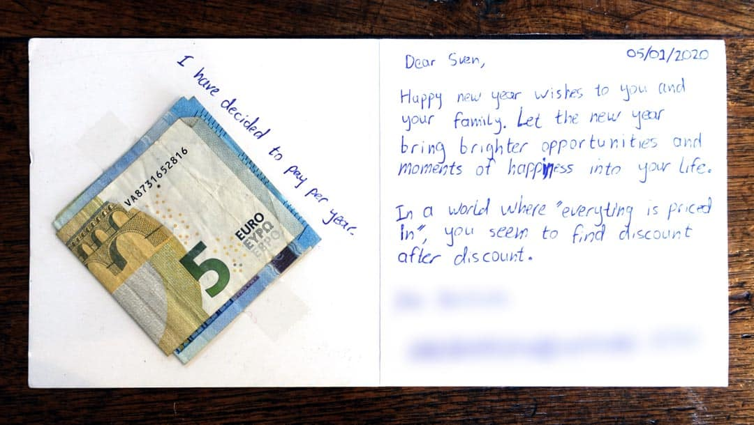 Card from Undervalued Shares customer