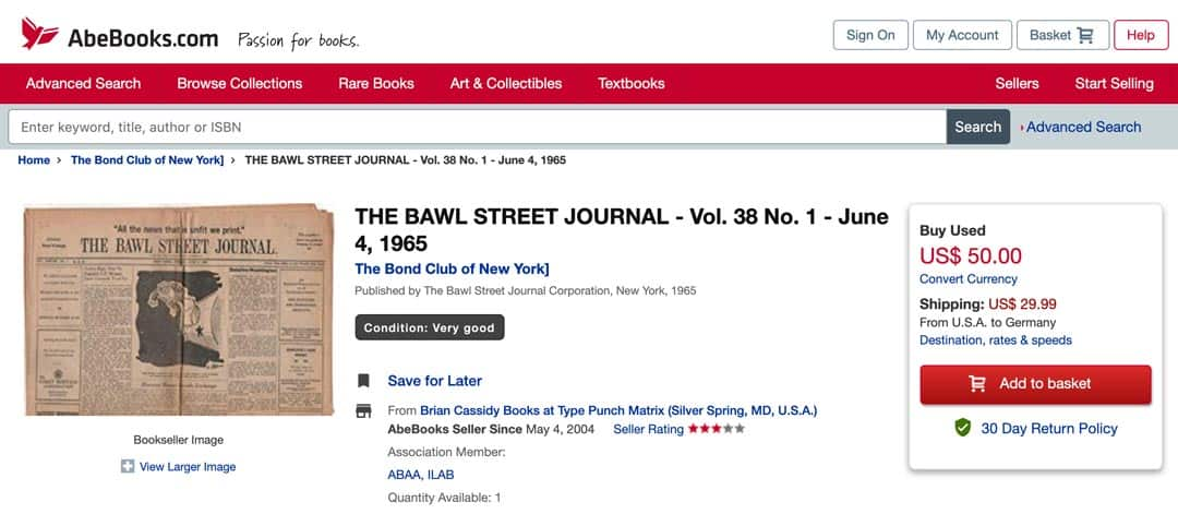 Abebooks The Bawl Street Journal
