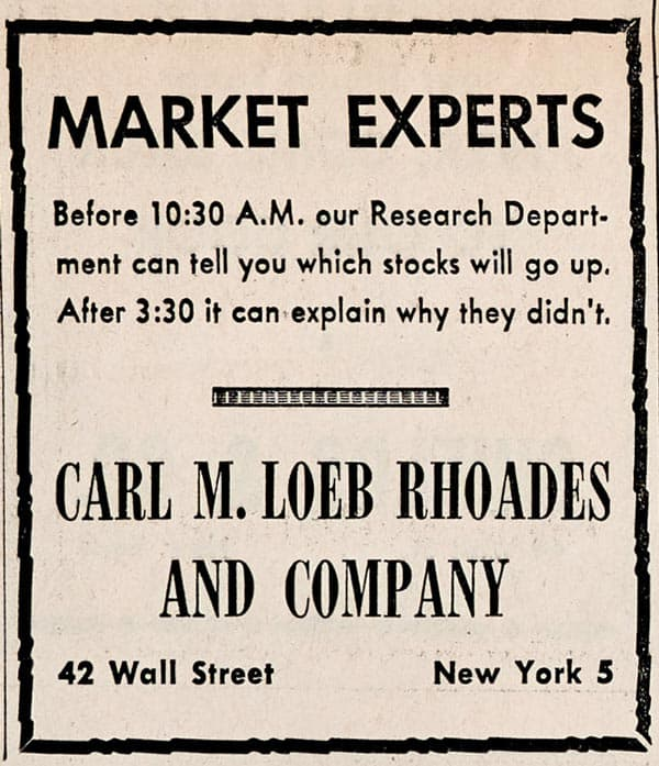 Carl M Loeb ad in The Bawl Street Journal
