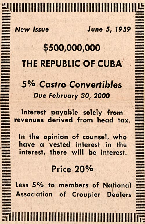 Cuba ad in The Bawl Street Journal