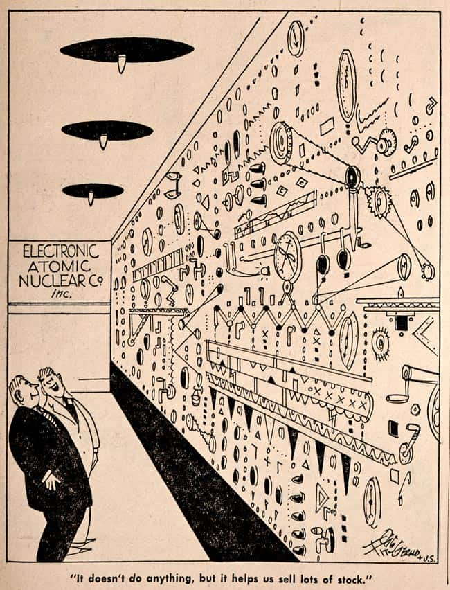 Electronic Atomic Nuclear cartoon in The Bawl Street Journal
