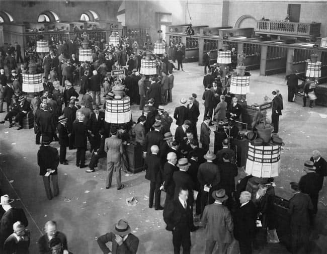 Historical image of brokers at stock exchange