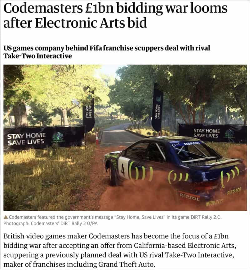 Codemasters bidding war