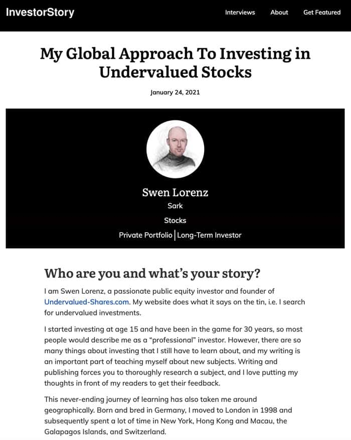 InvestorStory interview