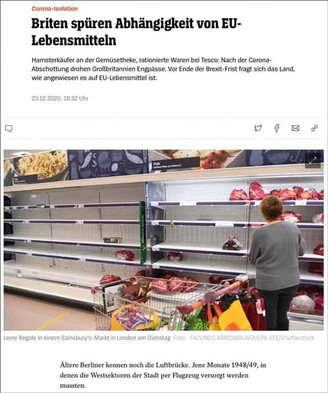 Der Spiegel - Briten spüren Abhängigkeit von EU Lebensmitteln