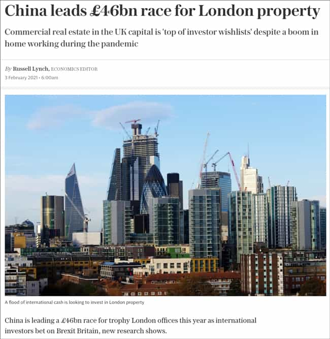 China leads GBP 46bn race for London property