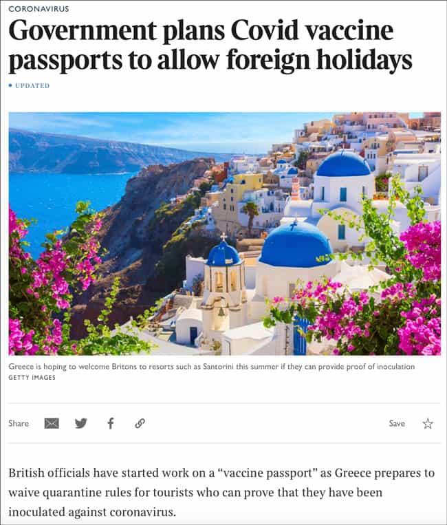 Government plans Covid vaccine passports