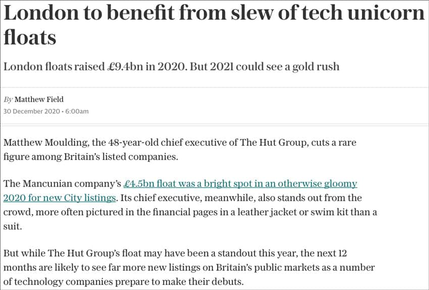 London to benefit from slew of tech unicorn floats