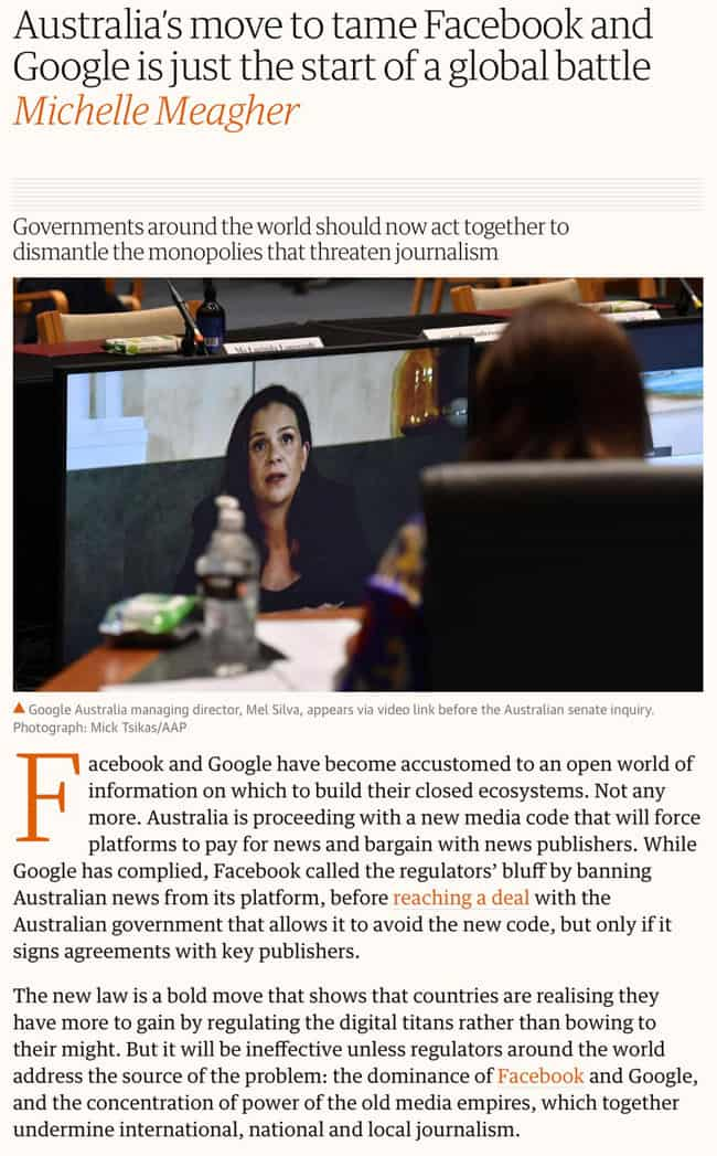 The Guardian - Australia's move to tame Facebook and Google is just the start of a global battle