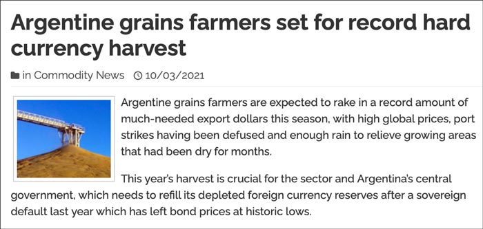 Argentine grains farmers set to record hard currency harvest