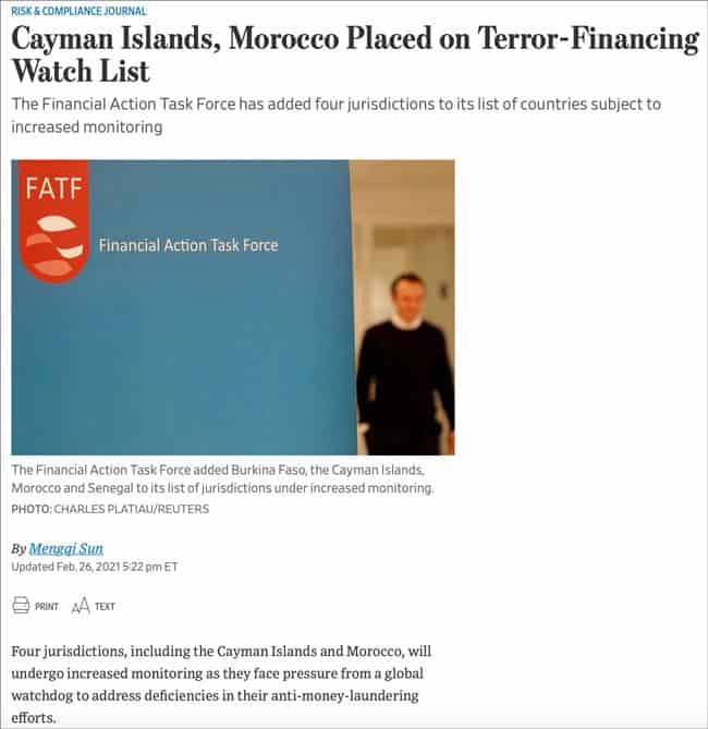 Cayman Islands and Morocco placed on terror-financing watch list