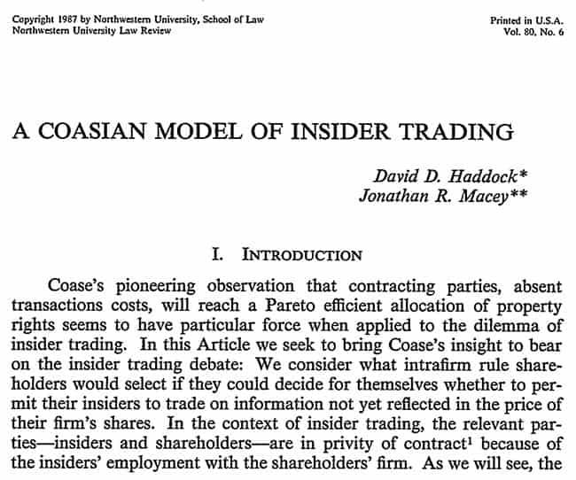 A Coasian model of insider trading