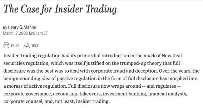 WSJ - The Case for Insider Trading