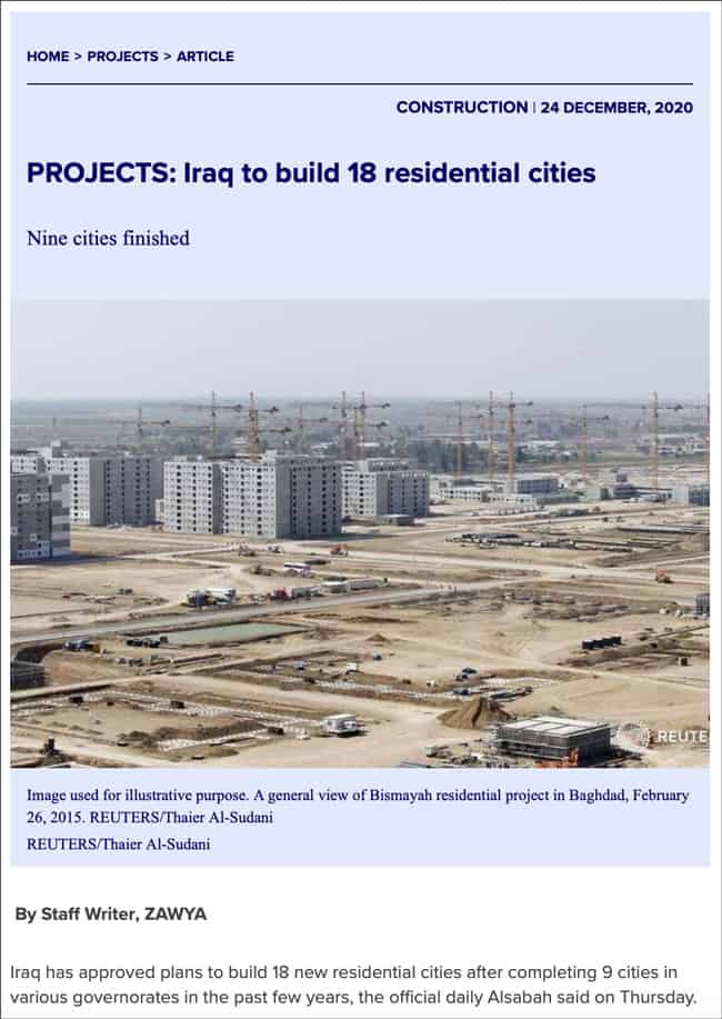 Iraq to build 18 residential cities