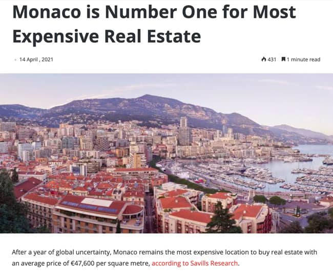 Monaco is number one for most expensive real estate