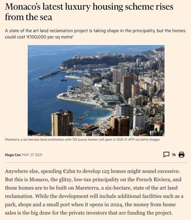 Monaco's latest luxury housing scheme rises from the sea
