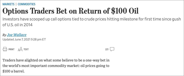 Options traders bet on return of 100 USD oil
