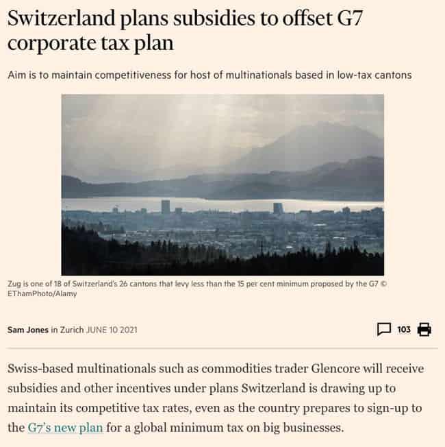 Switzerland plans subsidies to offset G7 corporate tax plan