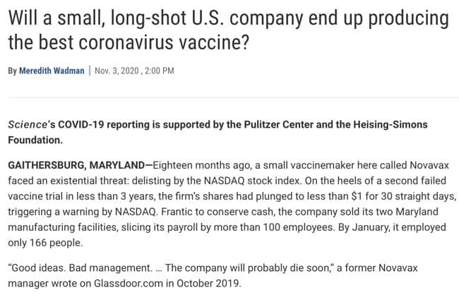 Novavax's vaccine is made of tiny particles studded with the coronavirus spike protein plus honeycomblike molecules, derived from plants, that stimulate the immune system. A.KITTERMAN AND V. ALTOUNIAN/SCIENCE Will a small, long-shot U.S. company end up producing the best coronavirus vaccine?