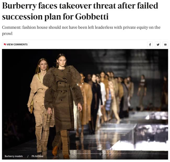 Burberry faces takeover threat